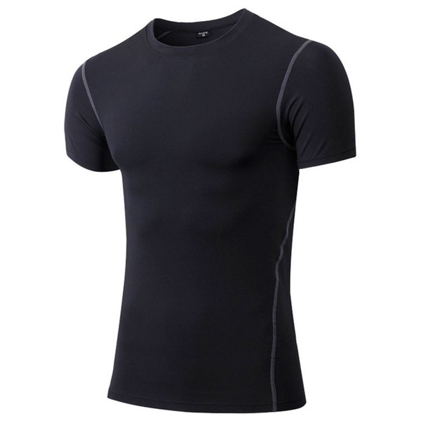 Men's Tight Training Fitness Suit Running Short Sleeved Sportswear Absorb Sweat High Elastic Quick Drying Men Gym T-shirt 1003