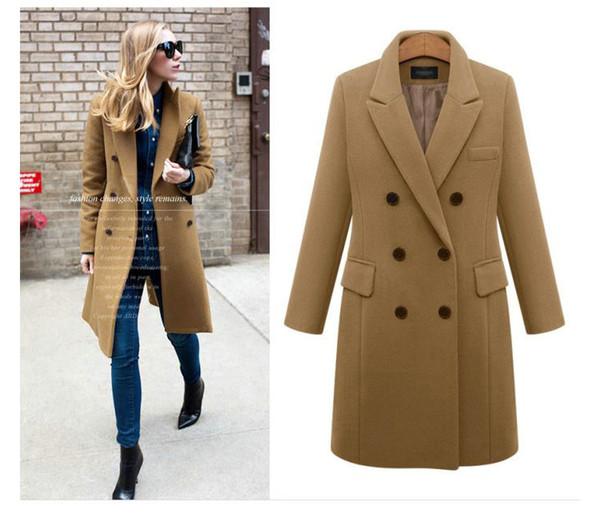 Revers XL Damen Plus Größe 5XL Schlanke Wolle Mischungen Casual Business Mantel Zweireiher Frauen Mode Mantel Neue Mäntel Herbst Großhandel Winter lkiZuwXTOP