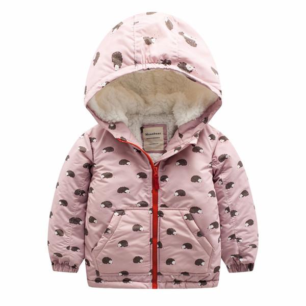 2018 Winter Boy Girls Jackets Thick Outwear Children Jacket Cartoon Hedgehog rabbit owl print Kids Windproof Warm Cotton Coat