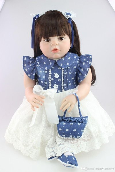 New fashion design realistic reborn toddler doll soft silicone vinyl real gentle touch 28inches fashion gift for birthday