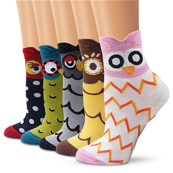 Womens Girls Boys Fun Cartoon Animal Cute Casual Cotton Novelty Crew Socks 5/6 Packs-Gift Idea