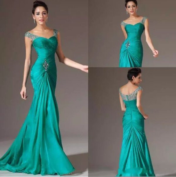 Best Selling Turquoise Chiffon Prom Dresses Mermaid V-neck Floor Length Cap Sleeve Beaded Pleats Discount Prom Gowns Formal Evening Dresses