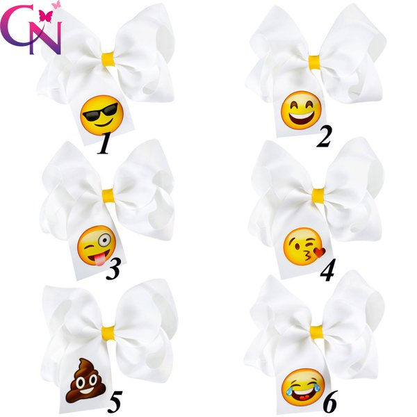 12 Pcs Lot New Fashion Handmade Boutique Solid White Ribbon Emoji Hair Bow With Clip For Kids Girls Hair Accessories Headwear
