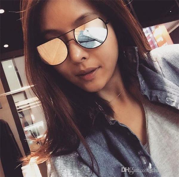 cba6760e38a70 2017 Moda true membrana cor dazzle óculos de sol mulher Personalidade  coringa meia armação de metal