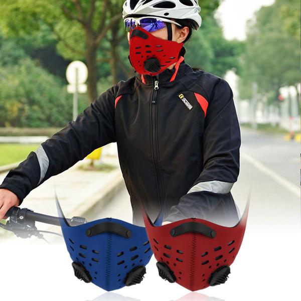 Anti Dust Motorcycle Bicycle Cycling Racing Bike Ski Half Face Filter Mask BLUE