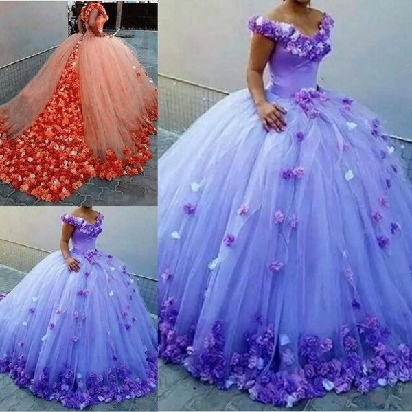 2019 Modest Off-Shoulder Cathedral Train Quinceanera Dresses Luxury 3D Floral Ball Gown Prom Dresses Sweety 16 Girls Masquerade Gowns