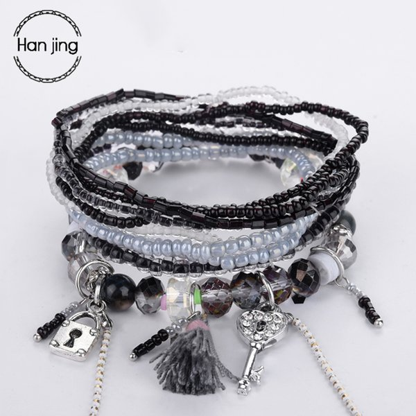 Key And Lock DIY Silver Charm Bracelets & Bangles For Women Jewelry Accessories Crystal Beads Bracelet Christmas New Year's Gift