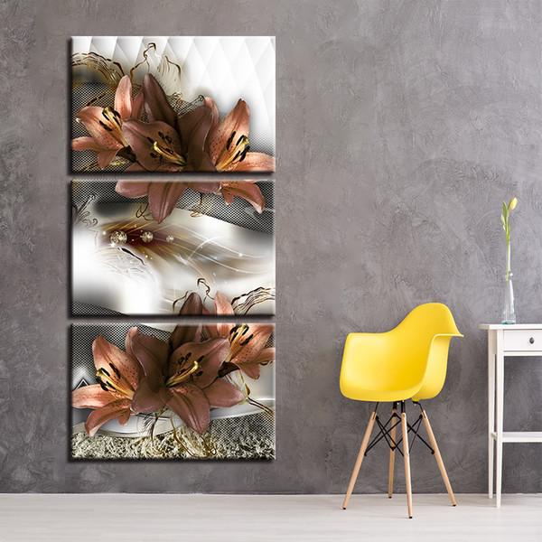 Acheter Toile Mur Art Affiche Hall D Entrée Cadre Impressions 3 Pièces Lys Fleurs Peinture Modulaire Souvenirs Photos Salon Décor à La Maison De