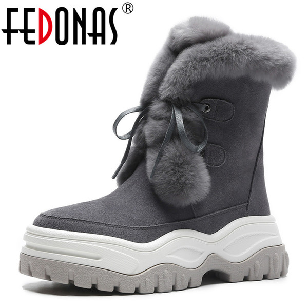 FEDONAS Fashion Winter Women Cow Suede Snow Boots Platforms Lace Up Cute Casual Shoes Woman High Quality Ladies Short Basic Boot