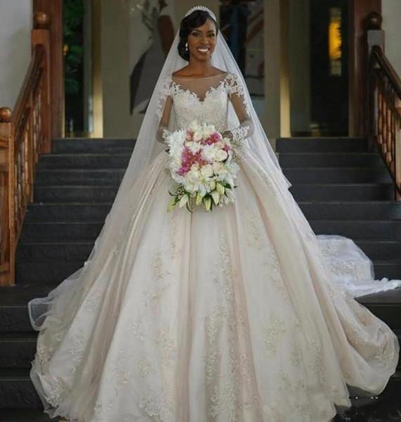 2018 Luxus Afrikanische Ballkleid Brautkleider Sheer Neck Langarm Kathedrale Zug Brautkleider Mit Spitze Applique Plus Größe