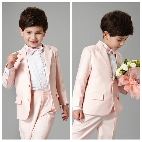 Handsome Boys Light Pink Blazer 2Pcs Wedding Suits for Boy Formal Suit Boys Wedding Suit Kid Tuxedos Children Outfits Jacket With Pants