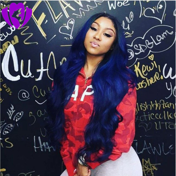 Luxury Body Wave Hair ombre Lace Front Wig Celebrity Style Synthetic blue color Full Lace Front Wigs for women
