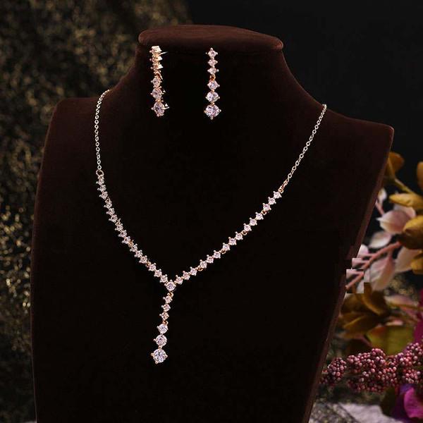 Işık Altın Basit CZ Kristal Takı Seti Çarpıcı Uzun Püskül Kolye Kolye + Parlak Küpe Düğün Aksesuarları Trendy XL084