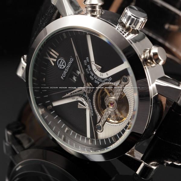 Clásico reloj automático hombres calendario reloj masculino correa de cuero negro al aire libre divertido deporte reloj analógico hombres viento automático reloj mecánico