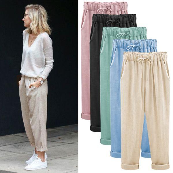 M-5XL 6XL 7XL Women Original Design Vintage Pants plus size coon linen Harem Trousers,elastic waist big size Casual Pants