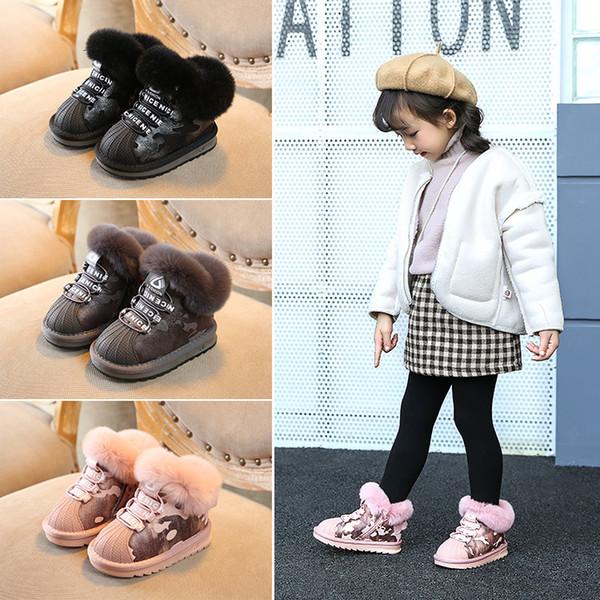 Bébé Chaussures Vente Chaude Australie Enfants Bottes De Neige Enfants Étanche Slip-on Vraie Fourrure Chaude Coton Bottes Garçons Filles Shell Toe Cap Bottes D'hiver