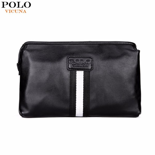 2f1cf1c1b67b1 VICUNA POLO Casual British Style Multilayer Men Clutch Wallet Large  Capacity Black Leather Envelope Clutch Bag