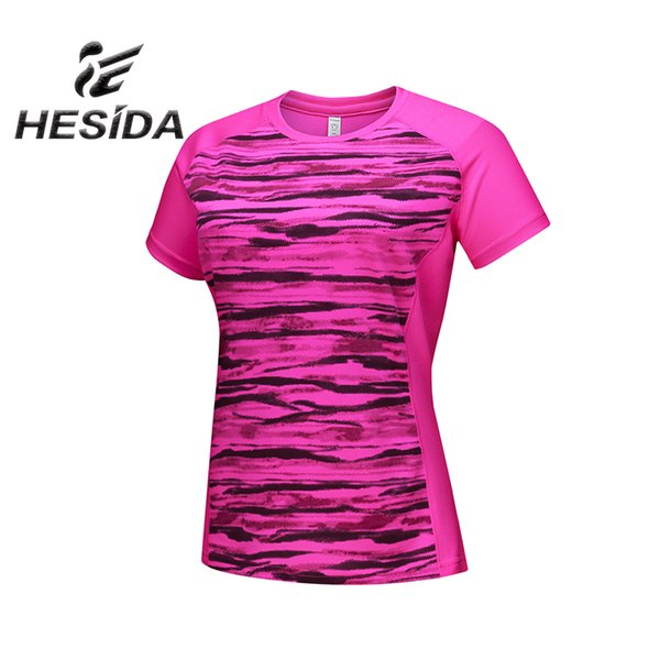 New Running Jersey Yoga Short Sleeve Stripe Tshirt Sportswear Female Branded Quick Dry Fit Women Shirt Sport Fitness Sweatshirt
