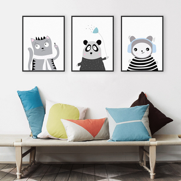Triptych Light Color Kawaii Animals Panda Cat Art Prints Poster Nursery Wall Picture Canvas Painting Kids Room Decor No Frame