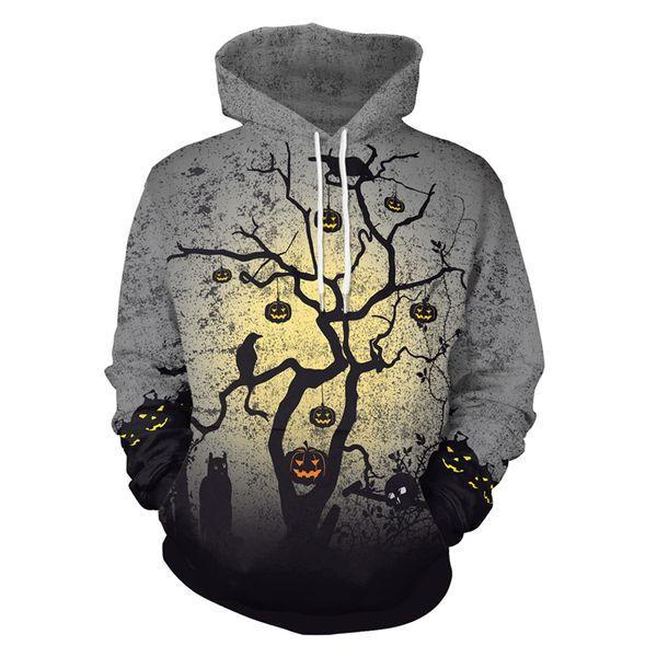 Halloween del estilo de los hombres de las mujeres calabaza Crows árbol Impreso 3d con capucha camisetas de la manera de los hombres más del tamaño de bolsillo con capucha Sudaderas