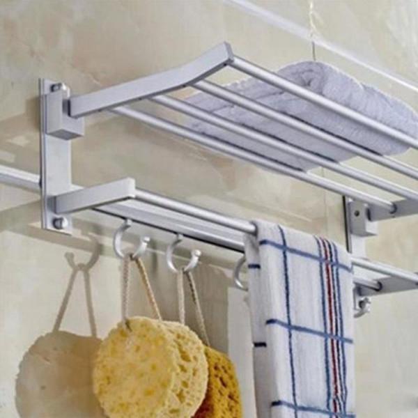 Yeni Katlanabilir Çift Alumimum Havlu Bar Set Raf Kule Tutucu Askı Banyo Otel Raf 5 kanca ile