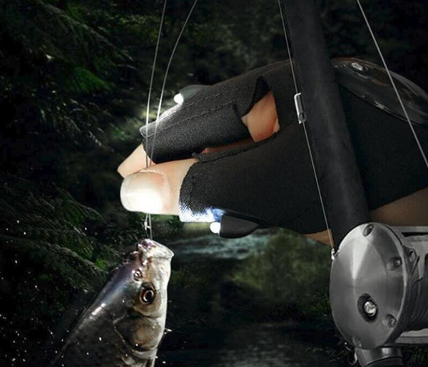 New Camping Hiking Fishing Rescue Gloves LED Flashlight Torch Lamp Outdoor Magic Strap Fingerless Gloves free shipping
