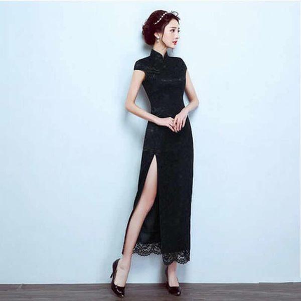 Boda Qipao Long Cheongsam Vestido Chino Tradicional Moderno Vestido Atractivo Cheongsam Negro Robe Chinoise Vestido Oriental Prom YYQ