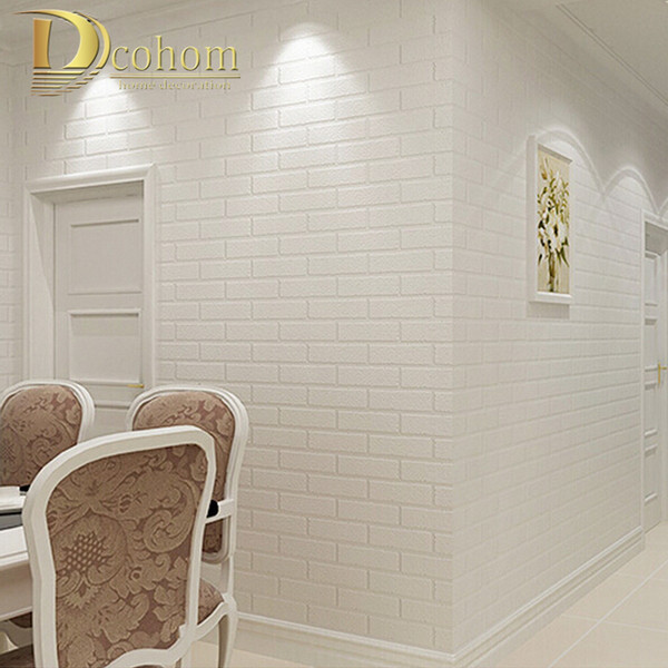 PVC/Vinyl Thickening white brick wallpaper for walls rustic TV background brick wall paper rolls, Papel de parede R211