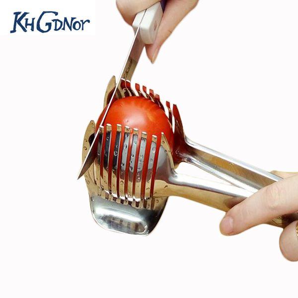 Stainless Steel Tomato Lemon Slicer Cutter Onion Lime Holder Fruit Stand Cutting Holder Kitchen Slicer Tool
