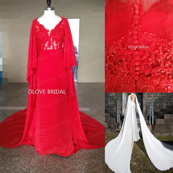 Real Photo High Quality Sheath Chiffon Wedding Dress Illusion Bridal Gowns with Cape Scarf Greek Style Graecism Bridal Gown Red White Dress