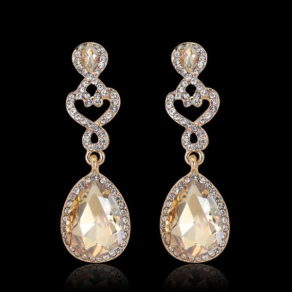 Design Vintage Diamant Cristal Boucles D'oreilles Dames De Mariée De Luxe Naturel Pierre Précieuse De Mariage Longue Exagérée Bijoux Boucles D'oreilles