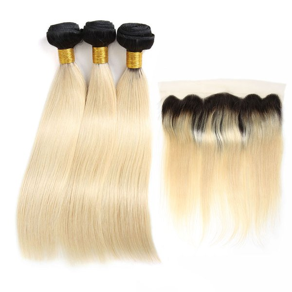 1b 613 Couleur Brésilienne Vierge Cheveux Raides 3 Faisceaux Avec Dentelle Frontale Remy Extensions De Cheveux Humains Vague De Corps Trames De Cheveux avec Des Fermetures Tisse