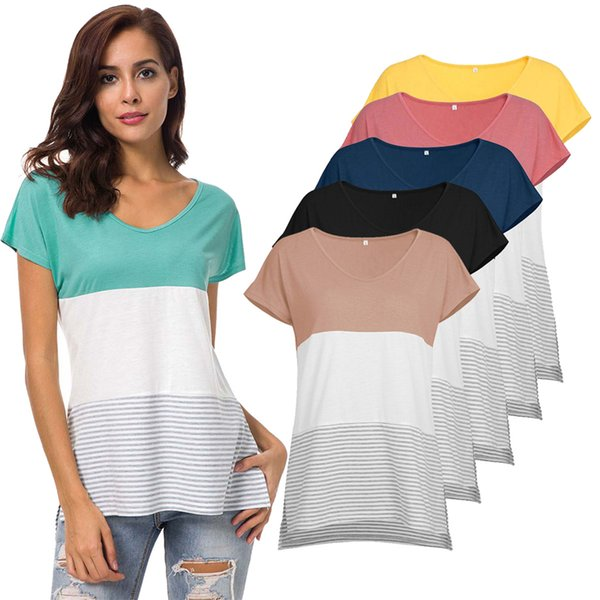 Casual Tee Top with Side Split Summer Women Short Sleeve Tunic Tops Color Block Stripe Casual T-Shirt Blouse Shirts with Striped Hem