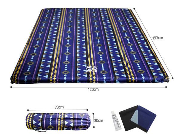 Coussin de tente de camping en plein air double coussin d'air automatique double ventilateur évidant tapis résistant à l'humidité tapis épissé