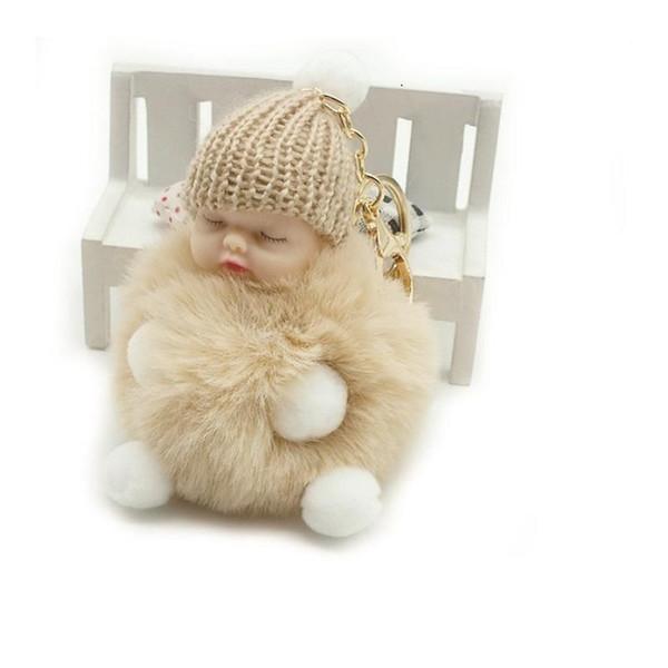 Moda bola de piel muñeca llavero dormir bebé pie y mano muñeca Pompom piel de conejo llavero llavero coche llavero titular de la joyería del encanto