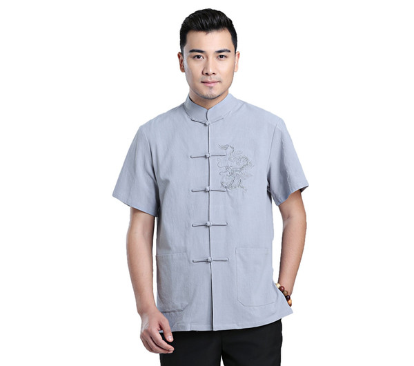 Shanghai Story 2018 Dragon Embroidery Chinese Traditional Kung Fu Tops Short Sleeve Tang Suit Clothing For Men Blend Linen Chinese Shirt