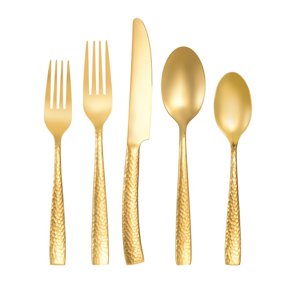 freeship5 Piece Gold Flatware Set Luxury Rose Gold Cutlery Set Stainless Steel Dinner Spoon Knife Fork Tableware for Home Kitchen Restaurant