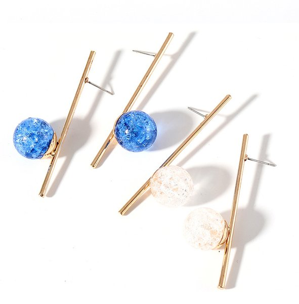 Elegant temperament simple and generous long stick broken grain pearl ear nail white blue two color choice girl party gift