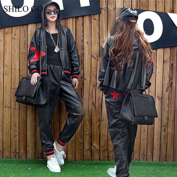 SHILO GO Combinaison en cuir Femme Printemps Mode en peau de mouton véritable Définit la veste causale étoile à capuche épissée en vrac Sarouel