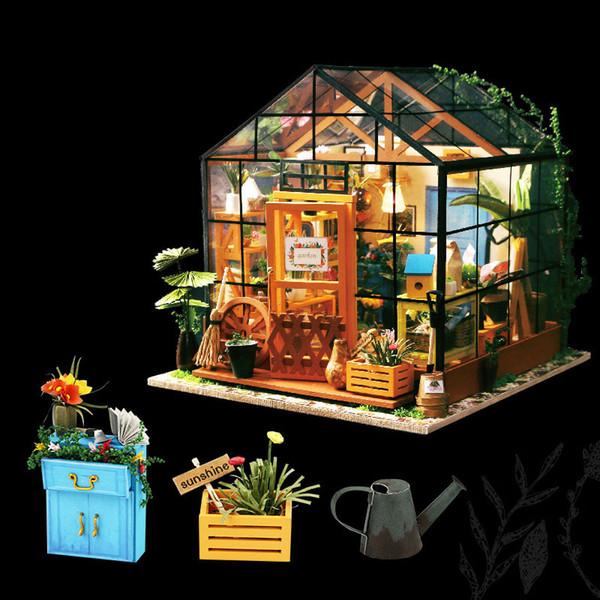 Mode diy puppenhaus für kinder kathys green garden mit möbeln miniatura puppenhäuser spielzeug led lichter geburtstagsgeschenk