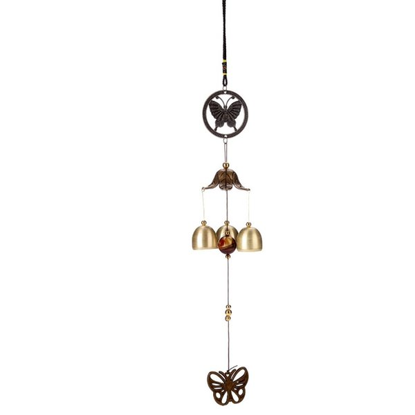 Retro Wind Chime Home Furnishing Novelty Items Coppery Butterfly Accessories Indoor Courtyard Small Bell Metal Ornaments Hot Sale 6 5bz V