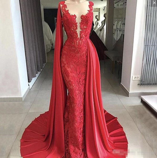Gorgeous Lace Mermaid Evening Dresses With Wraps Sheer Neck Bateau Prom Dress Long Sexy Zipper Back Special Design 2019 Cocktail Dress