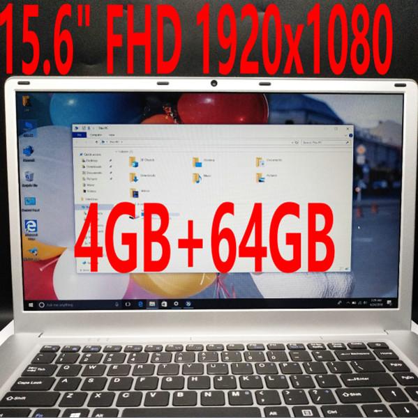 Newest version 15.6 inch FHD 1920x1080 Screen ultrathin laptop Intel Cherry Trail Z8350 Quad Core 4GB RAM 64GB SD 10000mAh Netbook HDMI WIFI