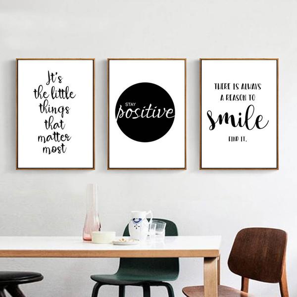 Schwarz Weiß Motivational Life Quote Leinwand Kunst Poster Leinwand Nordic Malerei Wandbilder für Wohnzimmer Home Decor