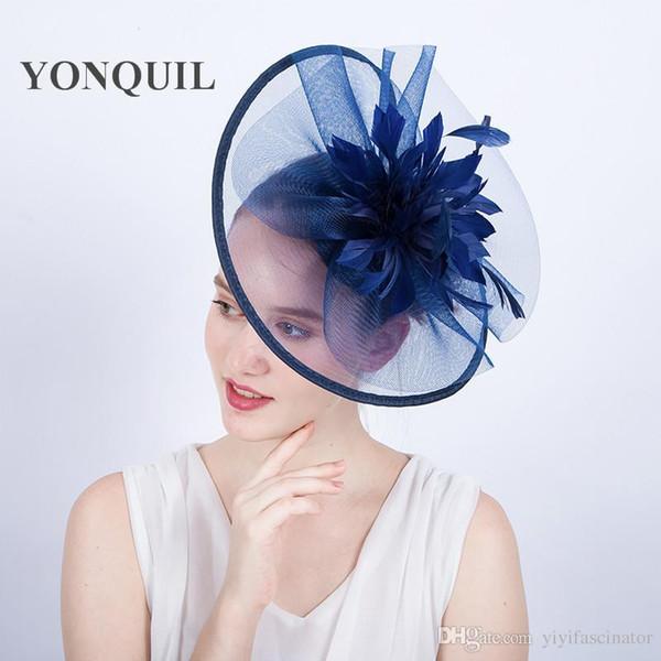 High quality New arrival royal ascot big fascinator hats DIY church halloween hats feather flower wedding hair accessories hair clips