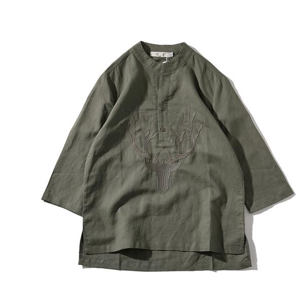2018 nuevos hombres de verano de lino camiseta de manga corta o-cuello de algodón hombres Casual camisetas ropa joven de moda estilo chino caliente