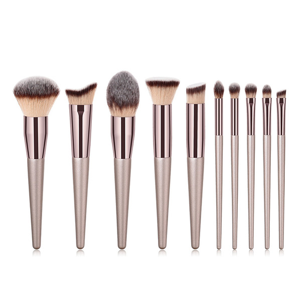 gemtotal makeup brushes set 10-pieces foundation concealer contour kabuki blush lip powder eyeshadow eyebrow synthetic hair (champagne gold