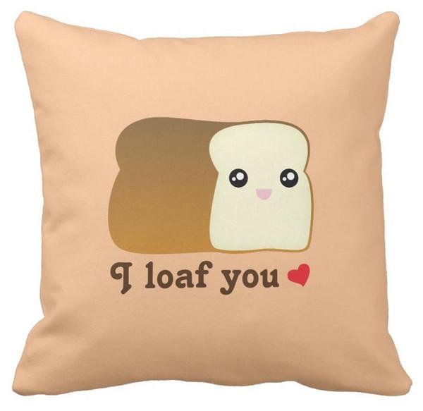 Compre Eu Te Pão Kawaii Pão Engraçado Dos Desenhos Animados Comida Trocadilho Travesseiro Pode Ser Personalizado Para Mapear Cetim Travesseiro