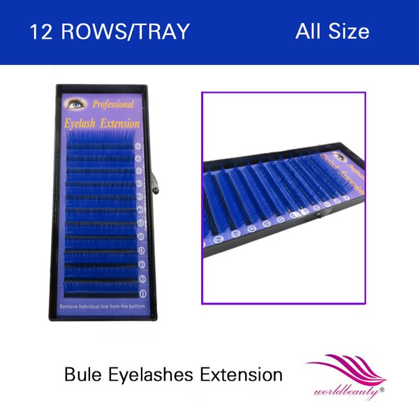 FREE SHIPPING hot sale 1 pcs/lot individual lashes blue color eyelash extension 0.07mm J/B/C/D all size available