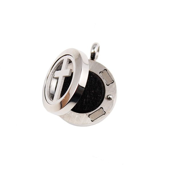20mm cross magnetic diffuser pendant necklace 316L Stainless steel aromatherapy perfume lockets necklace essential oil jewelry